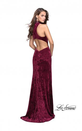 Picture of: Long Crushed Velvet Prom Dress with Beaded Choker, Style: 25783, Back Picture