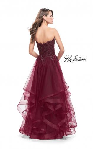 Picture of: Long Strapless Ball Gown with ruffle Tulle Skirt and Beads, Style: 26242, Back Picture