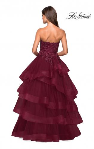 51bf003e8a2 Burgundy A Line Floor Length Strapless Dress. Tulle Prom Dress Lace ...