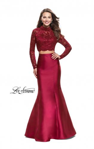Picture of: Two Piece Mermaid Prom Dress with Lace Top, Style: 24901, Detail Picture 1