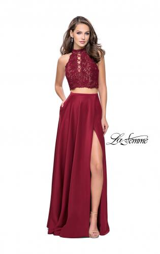 Picture of: Two piece gown with lace up top and satin A line skirt, Style: 25263, Detail Picture 1