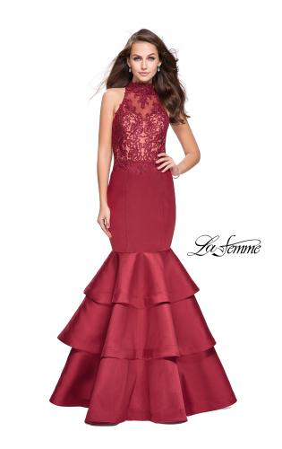 Picture of: Long Mikado Prom Dress with Ruffle Mermaid Skirt, Style: 25707, Detail Picture 1