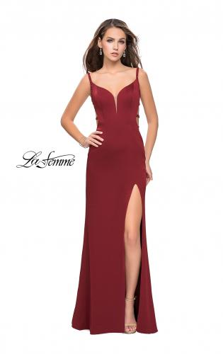 Picture of: Satin Prom Dress with Metallic Beaded Straps and Slit, Style: 26012, Detail Picture 1