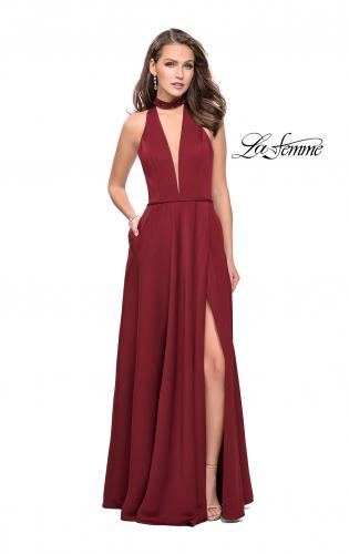 Picture of: Long Satin Prom Dress with Pockets and Beaded Choker, Style: 26154, Detail Picture 1