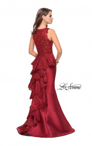 Picture of: Long Mermaid Gown with Lace Back and Ruffles, Style: 26217, Detail Picture 1