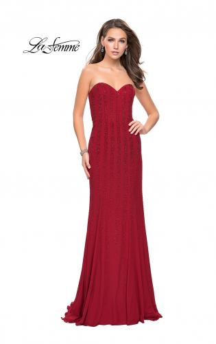 Picture of: Long Strapless Prom Gown with Beading and Low Back, Style: 26289, Detail Picture 1