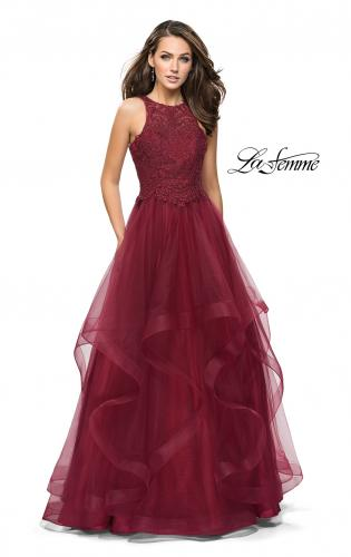 Picture of: Ball Gown with Tulle Skirt, High Neck, Beads, and Lace, Style: 26386, Detail Picture 1