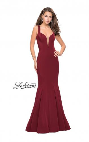 Picture of: Long Jersey Mermaid Prom Dress with Deep V, Style: 25485, Detail Picture 2