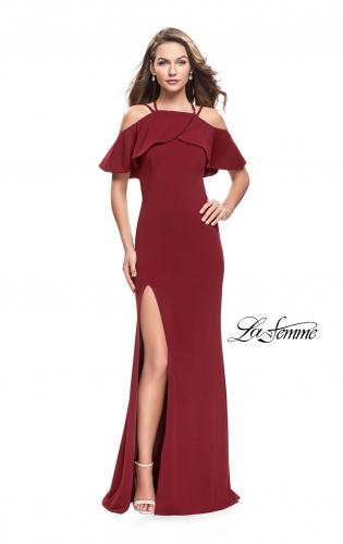 Picture of: Long Jersey Prom Dress with Off the Shoulder Ruffle Detail, Style: 25556, Detail Picture 2