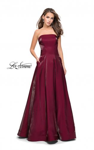 Picture of: Long Strapless Two-Tone Satin Ball Gown with Pockets, Style: 25638, Detail Picture 2