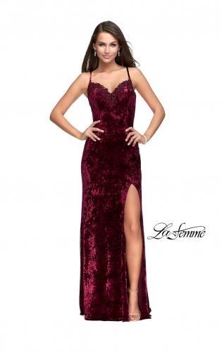 Picture of: Crushed Velvet Prom Dress with Lace Neckline, Style: 25881, Detail Picture 2