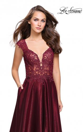 Picture of: A-Line Dress with Satin Skirt and Beaded Lace Bodice, Style: 25973, Detail Picture 2