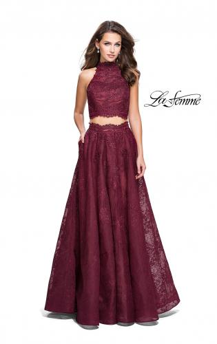 Picture of: Long Lace A-line Two Piece Prom Dress with Cut Outs, Style: 26103, Detail Picture 2