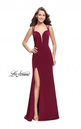 Picture of: Satin Prom Dress with Open Back and Beaded Straps, Style: 26167, Detail Picture 2