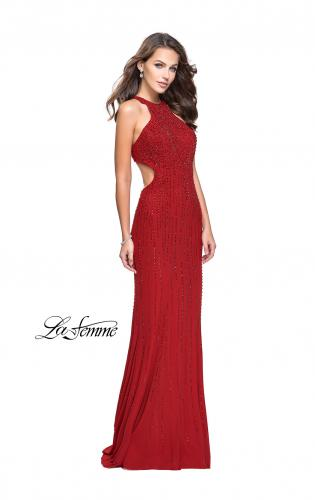 Picture of: Metallic Beaded Long Prom Dress with High Neck, Style: 26182, Detail Picture 2