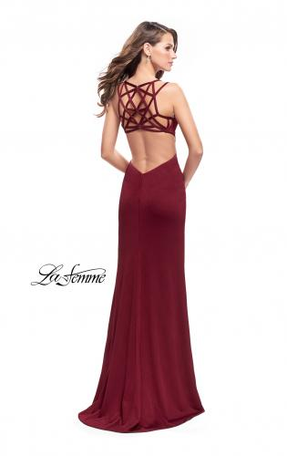 Picture of: Shimmering Prom Dress with Leg Slit and Open Back, Style: 26266, Detail Picture 2
