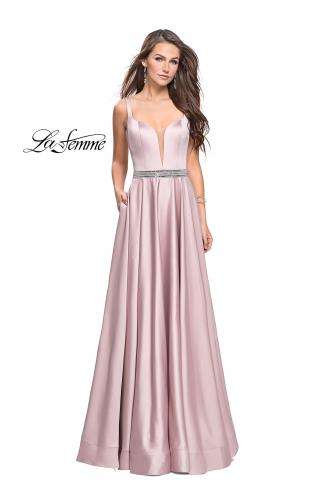 Picture of: Satin Prom Dress with A Line Skirt and Beaded Belt., Style: 24821, Main Picture