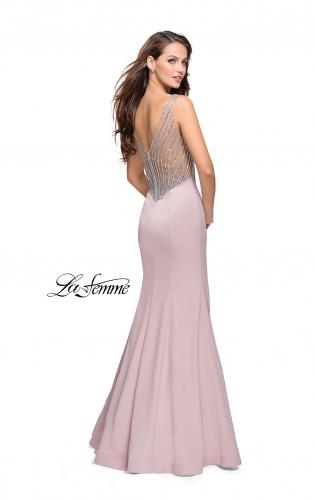 Picture of: Long Mermaid Gown with Sheer Deep V and Beading, Style: 25454, Main Picture