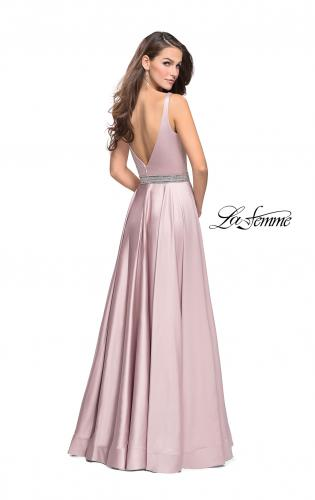 Picture of: Satin Prom Dress with A Line Skirt and Beaded Belt., Style: 24821, Back Picture