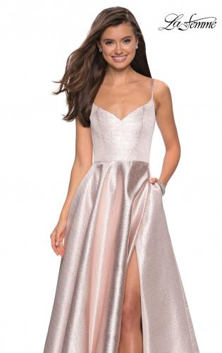... Picture of  Metallic A-line Prom Gown with Side Leg Slit 9a5da3ed5