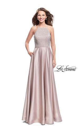 Picture of: Satin A-line Ball Gown Featuring Beading and a High Neck, Style: 25601, Detail Picture 2