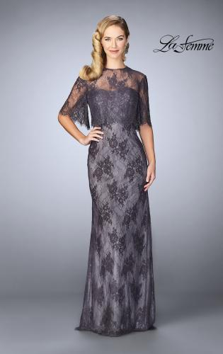 Picture of: Evening Strapless Lace Dress with Matching Lace Shawl, Style: 24856, Main Picture