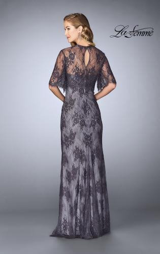 Picture of: Evening Strapless Lace Dress with Matching Lace Shawl, Style: 24856, Back Picture