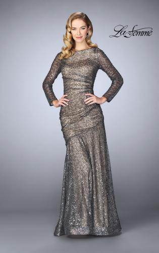 Picture of: Gathered Sequin Prom Gown With Long Sleeves, Style: 24919, Detail Picture 1