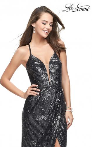 Picture of: Sequined Prom Dress with Wrap Side Leg Slit and Racer Back, Style: 25661, Main Picture
