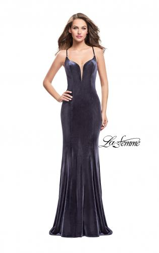 Picture of: Velvet Mermaid Style Prom Dress with Deep V Neckline, Style: 25174, Detail Picture 1