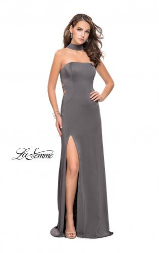 Picture of: Strapless Jersey Prom Dress with Attached Choker, Style: 25735, Detail Picture 1
