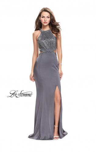 Picture of: Long Jersey Prom Dress with High Neck and Beading, Style: 26130, Detail Picture 1
