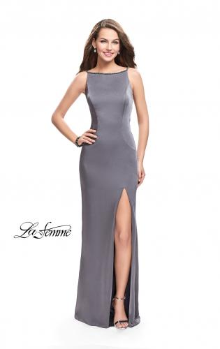 Picture of: Long Classic Form Fitting Prom Dress with Leg Slit, Style: 26274, Detail Picture 1