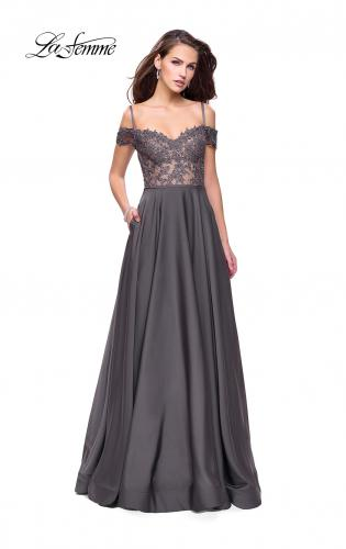 Picture of: Long A-line Prom Dress with Sheer Lace Beaded Bodice, Style: 25479, Detail Picture 2