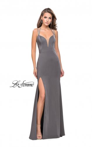 Picture of: Long Jersey Dress with Metallic Straps and Embellishments, Style: 25660, Detail Picture 2