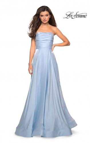 Picture of: Strapless Satin Gown with Ruching and Pockets, Style: 27130, Detail Picture 2
