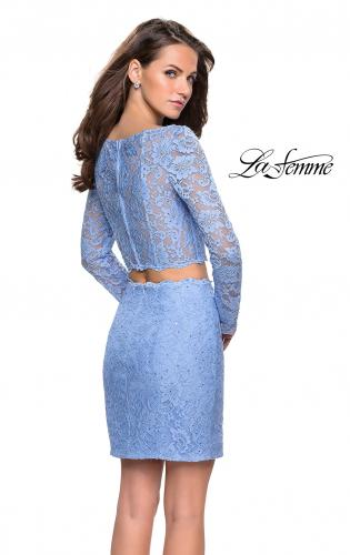 Picture of: Long Sleeve Two Piece Dress with Rhinestone Detail, Style: 26767, Back Picture