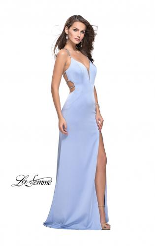 Picture of: Long Jersey Prom Dress with Plunging Neckline and Beading, Style: 25398, Main Picture