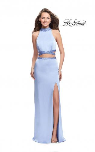 Picture of: Two Piece Prom Gown with Beaded Choker and Leg Slit, Style: 25746, Main Picture