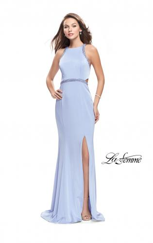 Picture of: Long Jersey Prom Dress with High Neck and Cut Outs, Style: 26069, Main Picture