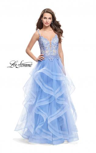 Picture of: Ball Gown with Tulle Skirt and Beaded Lace Bodice, Style: 26148, Main Picture