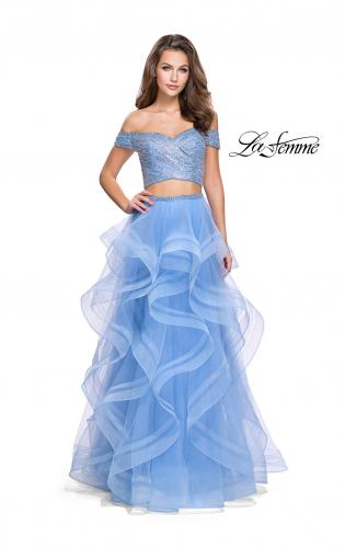 Picture of: Off the Shoulder A-line Gown with Ruffle Tulle Skirt, Style: 26169, Main Picture