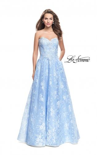 Picture of: Long Strapless Lace Ball Gown with Beading and Pockets, Style: 26338, Main Picture
