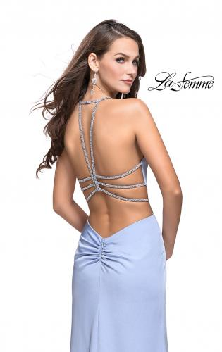 Picture of: Long Jersey Prom Dress with Plunging Neckline and Beading, Style: 25398, Back Picture