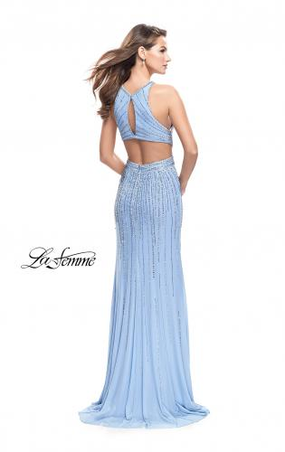 Picture of: Metallic Beaded Prom Dress with High Neck and Cut Outs, Style: 26057, Back Picture