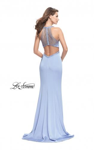 Picture of: Long Jersey Prom Dress with High Neck and Cut Outs, Style: 26069, Back Picture