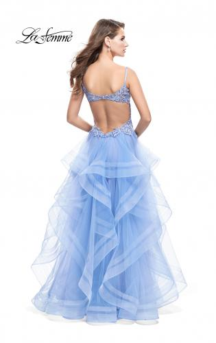 Picture of: Ball Gown with Tulle Skirt and Beaded Lace Bodice, Style: 26148, Back Picture