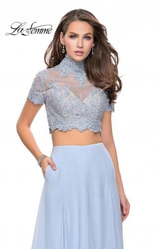 Picture of: Two Piece Dress with Beaded Lace Top and Sheer Back, Style: 25401, Detail Picture 1