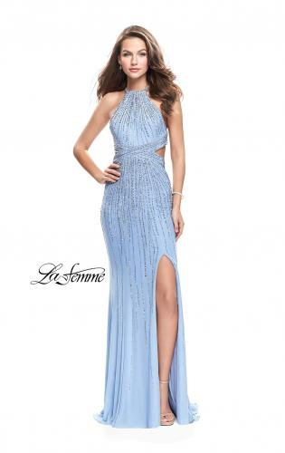 Picture of: Metallic Beaded Prom Dress with High Neck and Cut Outs, Style: 26057, Detail Picture 1
