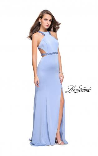 Picture of: Beaded Form Fitting Long Prom Dress with Leg Slit, Style: 26129, Detail Picture 1